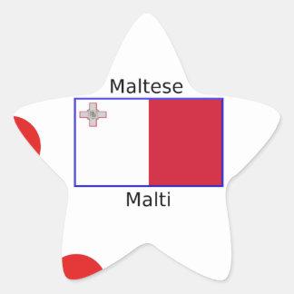 Maltese (Malti) Language And Malta Flag Design Star Sticker