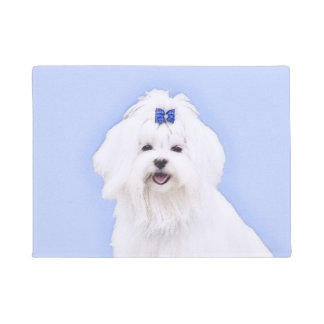 Maltese Painting - Cute Original Dog Art Doormat