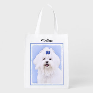 Maltese Painting - Cute Original Dog Art Reusable Grocery Bag