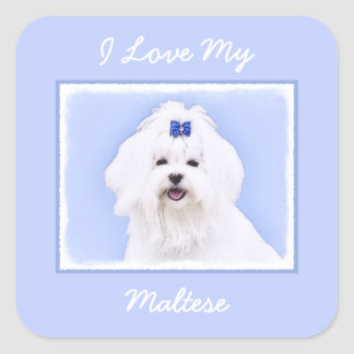 Maltese Painting - Cute Original Dog Art Square Sticker