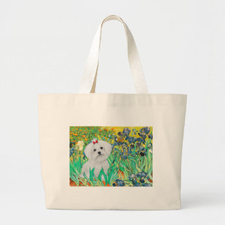 MALTESE pup - Irises Large Tote Bag