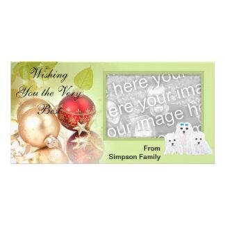 Maltese Puppy Kisses ~ Green Leaf Design Customised Photo Card