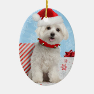 Maltese Puppy Oval Christmas Ornament