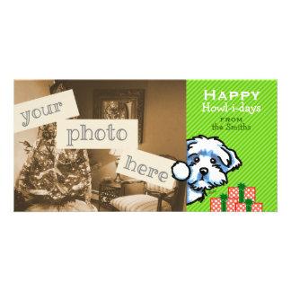 Maltese Puppy Peeking Modern Christmas Stripe Customized Photo Card