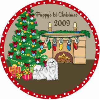 Maltese Puppy's First Christmas Ornament 2009 Photo Sculpture Decoration