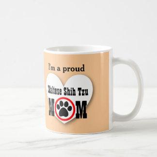 MALTESE SHIH TZU Mom Dog Lover Paw Print Gift B09 Basic White Mug