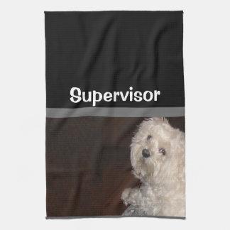 MALTESE SUPERVISOR  Kitchen Towel-Gray/Black/White Tea Towel