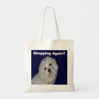 Maltese Tote Bag for Men/Women on White/Blue