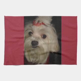 Maltese with Red Bow Tea Towel