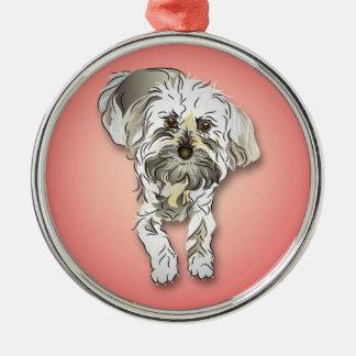 Maltipoo Dog on Pink Metal Ornament