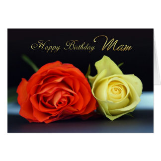Mam Birthday Card With Orange And Cream Roses