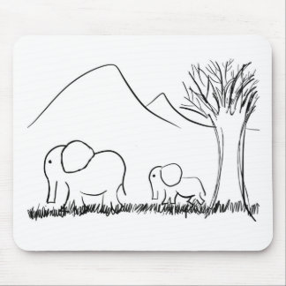 Mama and Baby Elephants Mouse Pad