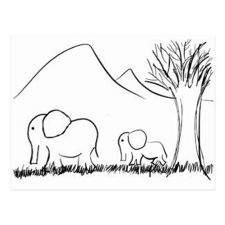 Mama and Baby Elephants Postcard