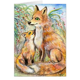 Mama And Baby Fox Card