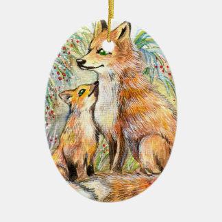 Mama And Baby Fox Ceramic Ornament