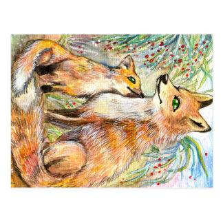 Mama And Baby Fox Postcard