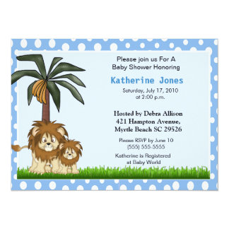 Mama and Baby Lion Baby Shower Invitation