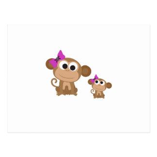 Mama and baby monkey postcard