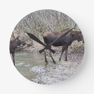 Mama and Baby Moose Round Clock