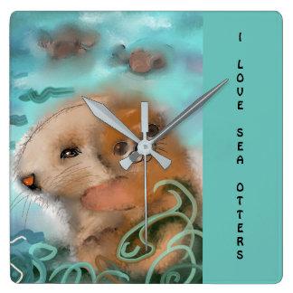"""Mama and Baby Sea Otter"" Clocks"