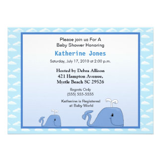 Mama and Baby Whale Baby Shower Invitation