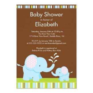 Mama & Baby Elephant Baby Shower Boy or Girl 13 Cm X 18 Cm Invitation Card