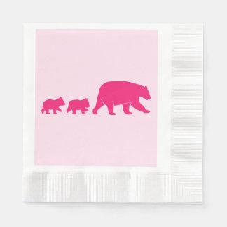 Mama Bear and Cubs Birthday Disposable Napkins