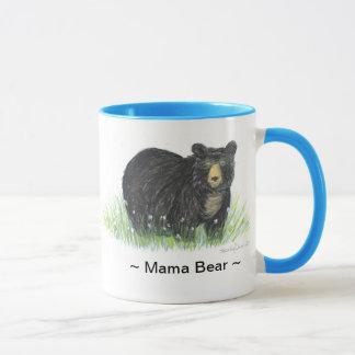 ~ Mama Bear ~ Black Bear blue trim mug