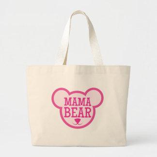 mama bear in teddy head large tote bag