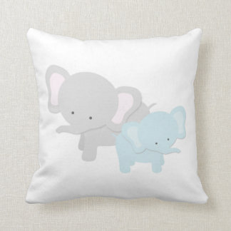 Mama Elephant & Baby Throw Pillow | {Lt Blue Back}