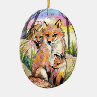 Mama Fox And Baby Foxes At Sunset Woods Ceramic Ornament