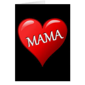 Mama Heart with Black Background Greeting Cards