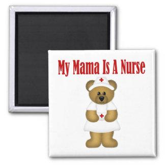 Mama Is A Nurse Bear Square Magnet
