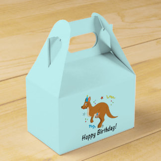 Mama Kangaroo and Baby in Birthday Hats Favour Box