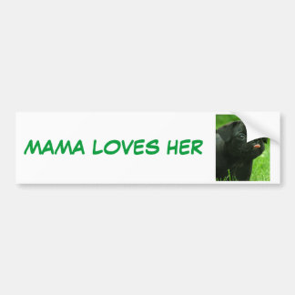 MAMA LOVES HER PUGS BUMPER STICKER