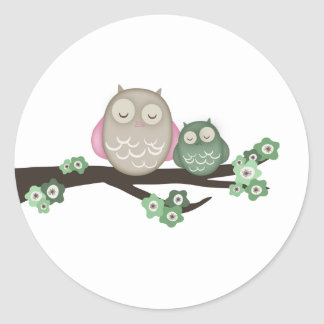 Mama Owl & Baby {Green} | Stickers