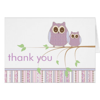Mama Owl & Baby Owl in Purple Thank You Note Card