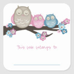 Mama Owl & Twins {Pink & Blue} | Bookplates Square Sticker