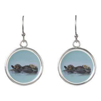 Mama Sea Otter and Her Babe, Wildlife, Earrings