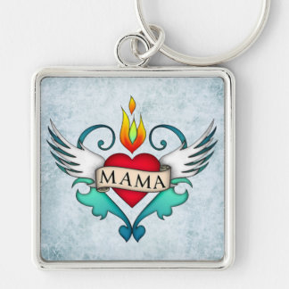 Mama Silver-Colored Square Key Ring