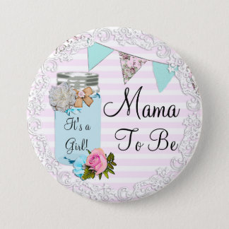 Mama to be Blue Mason Jar Rustic Button