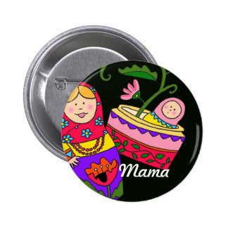 Mama Ukrainian Folk Art 6 Cm Round Badge