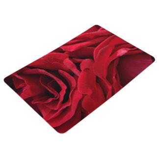 Mama's romantic red velvet roses floral photo floor mat