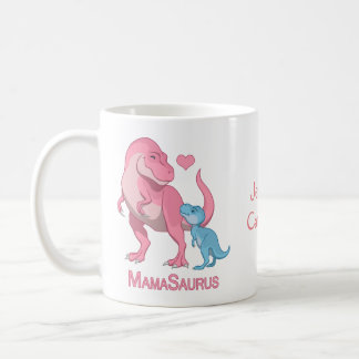 MamaSaurus T-Rex and Baby Boy Dinosaurs Coffee Mug