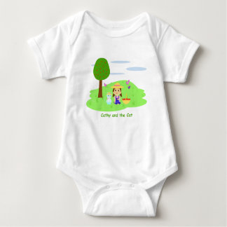 """Mameluco for baby """"Cathy and the Cat"""" and apples Baby Bodysuit"""