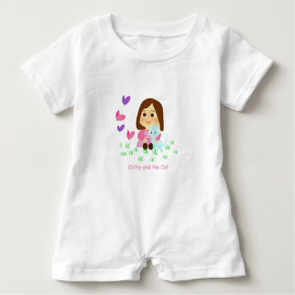 """Mameluco of """"Cathy and the Cat"""" with butterflies Baby Bodysuit"""