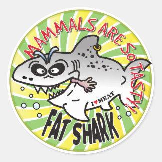 Mammals Fat Shark Round Stickers