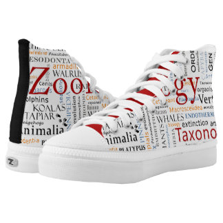 Mammals in Typography Printed Shoes