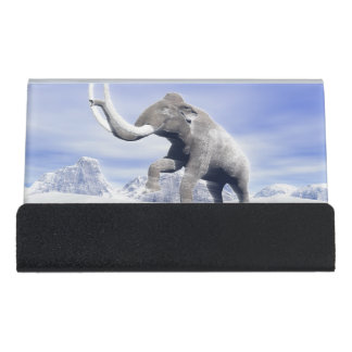 Mammoth in the wind desk business card holder