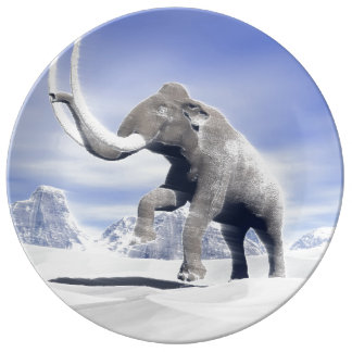 Mammoth in the wind porcelain plate